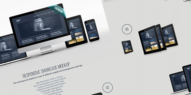 Responsive showcase device mockup