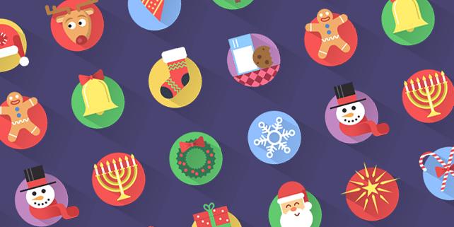 16 flat Christmas icons