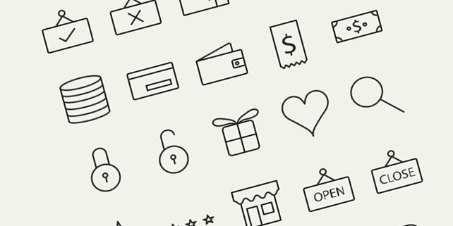45 outline vector icons for e-commerce