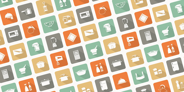 40 kitchen flat icons