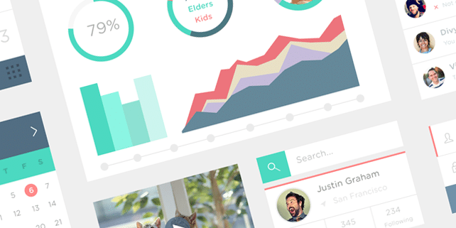 Flat design UI kit by Simeon