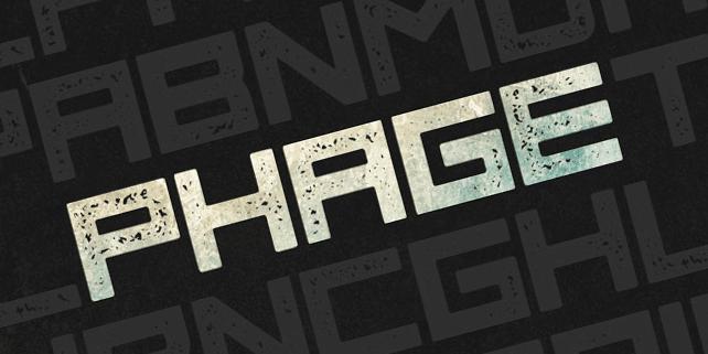 Phage – square, blocky font