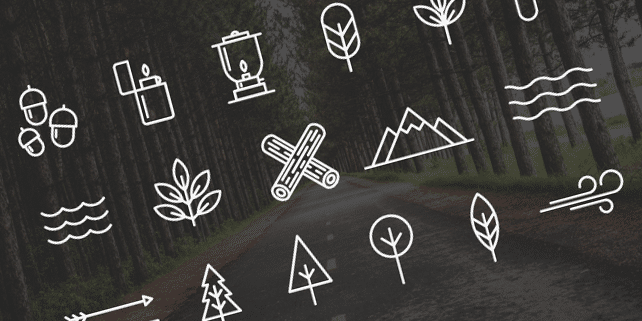 18 camping vector icons
