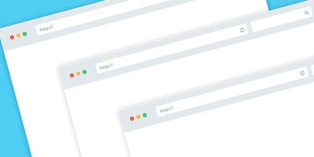 Flat, minimalist browser mockup