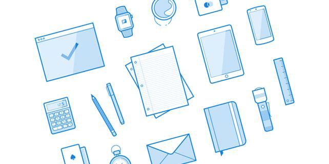 16 minimalist line icons/illustrations
