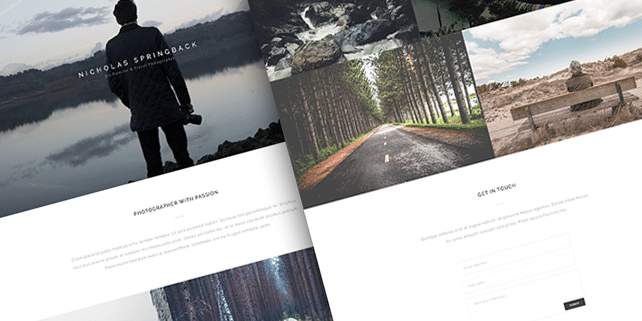 One page photography PSD template