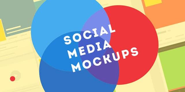 Flat social media profile mockups
