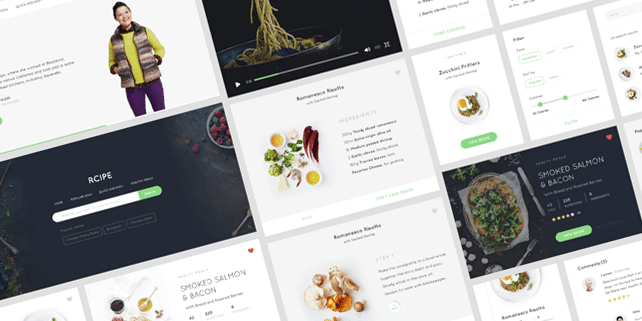 Food/recipe UI kit for Sketch