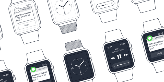 Apple Watch wireframes built for Sketch