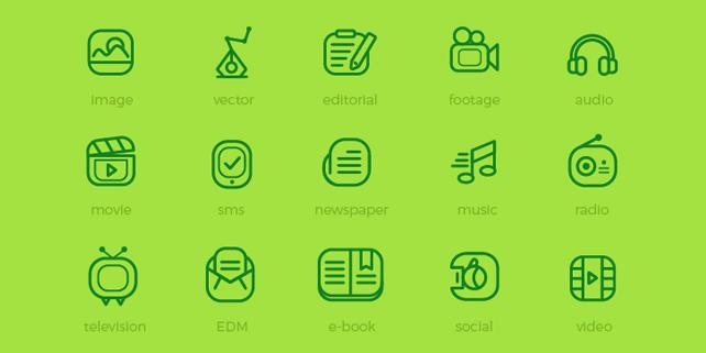20 media flat icons