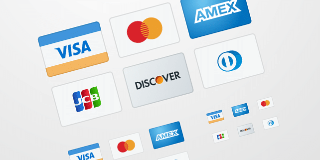 6 credit card vector icons
