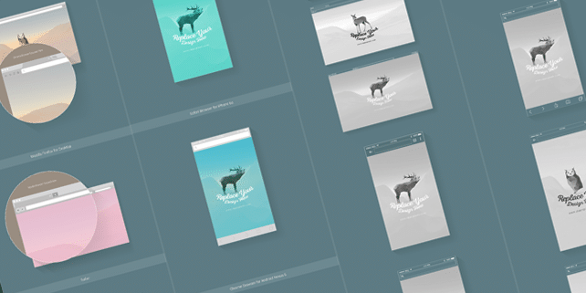 7 web & mobile vector browser mockups
