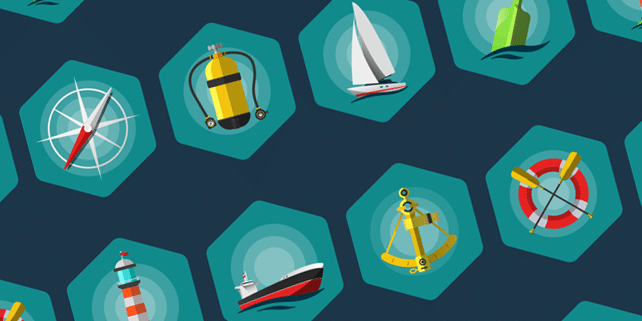 8 stylish flat sea icons