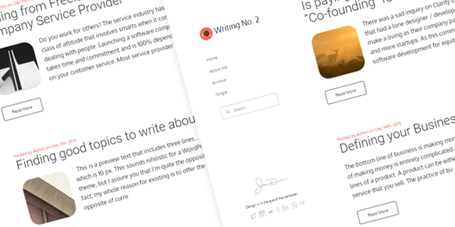 Writing #2 – simple blog WordPress theme