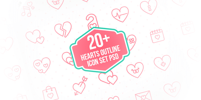 23 lovely heart outline icons