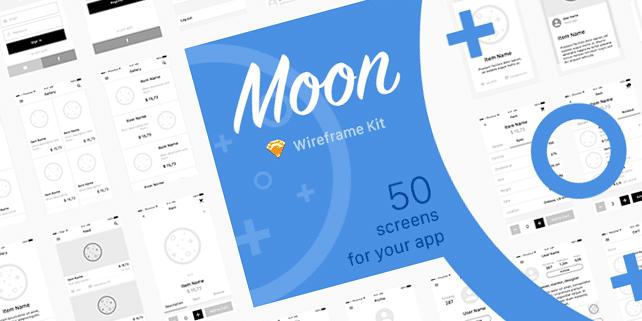 Moon – mobile wireframe UI kit