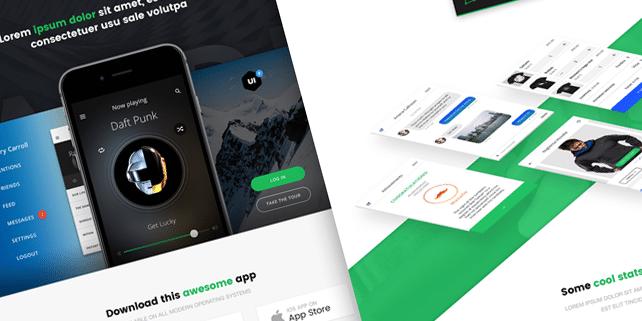 Landr – app presentation PSD template