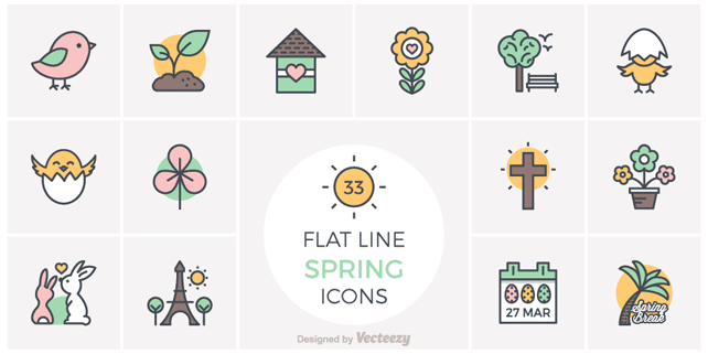 33 flat spring line icons