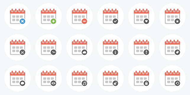 37 clean calendar vector icons