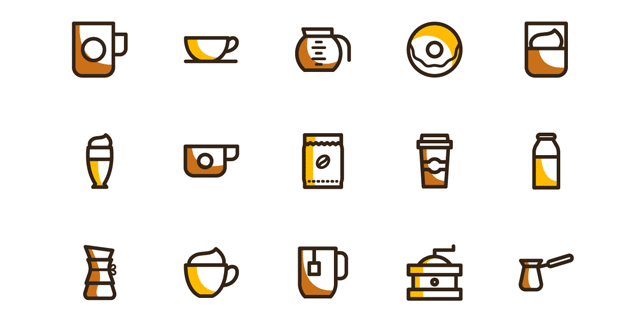 20 vector icons for coffee lovers