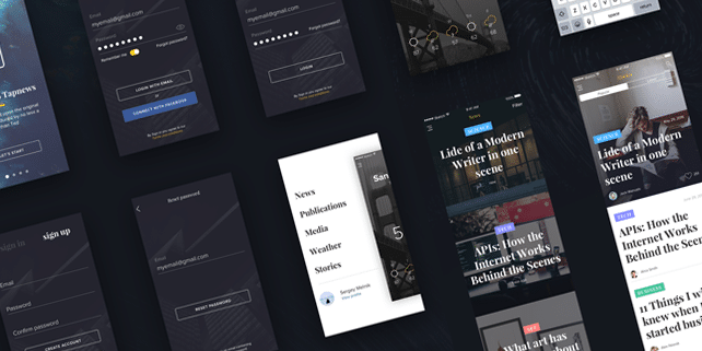 Tapnews – clean mobile UI kit