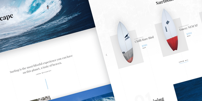 Clean PSD template for surfing websites