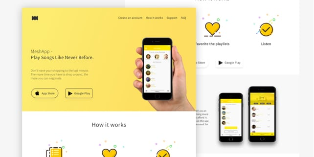 MeshApp – flat mobile app landing page