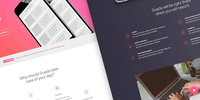 Suada – trendy mobile app PSD template