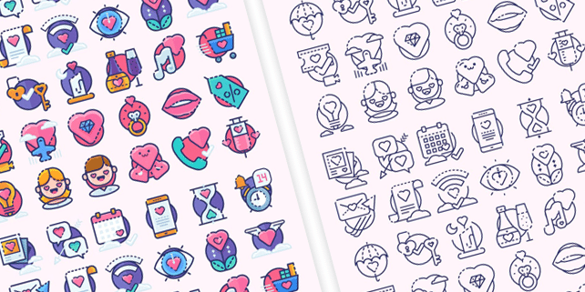 30 lovely, vector icons for Valentine's Day