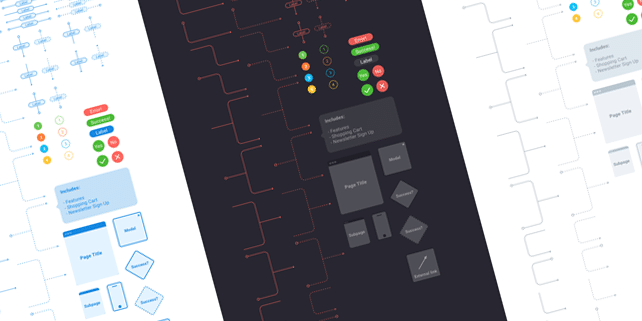 Vector flowchart UI kit for Sketch