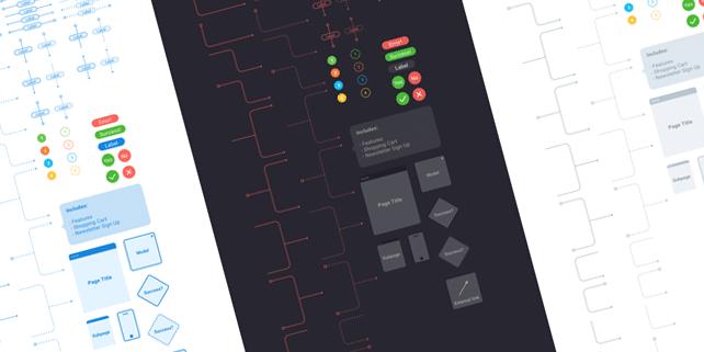 Vector flowchart UI kit for Sketch