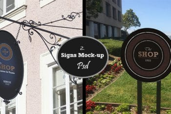 Two Shop Sign Mockups Freebie in PSD