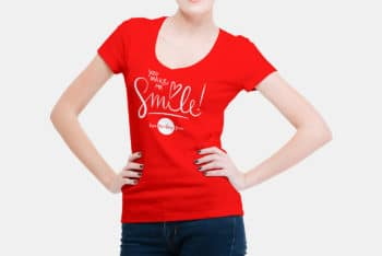 Create Stylish T-shirts with V-Neck Women T-shirt PSD Mockup