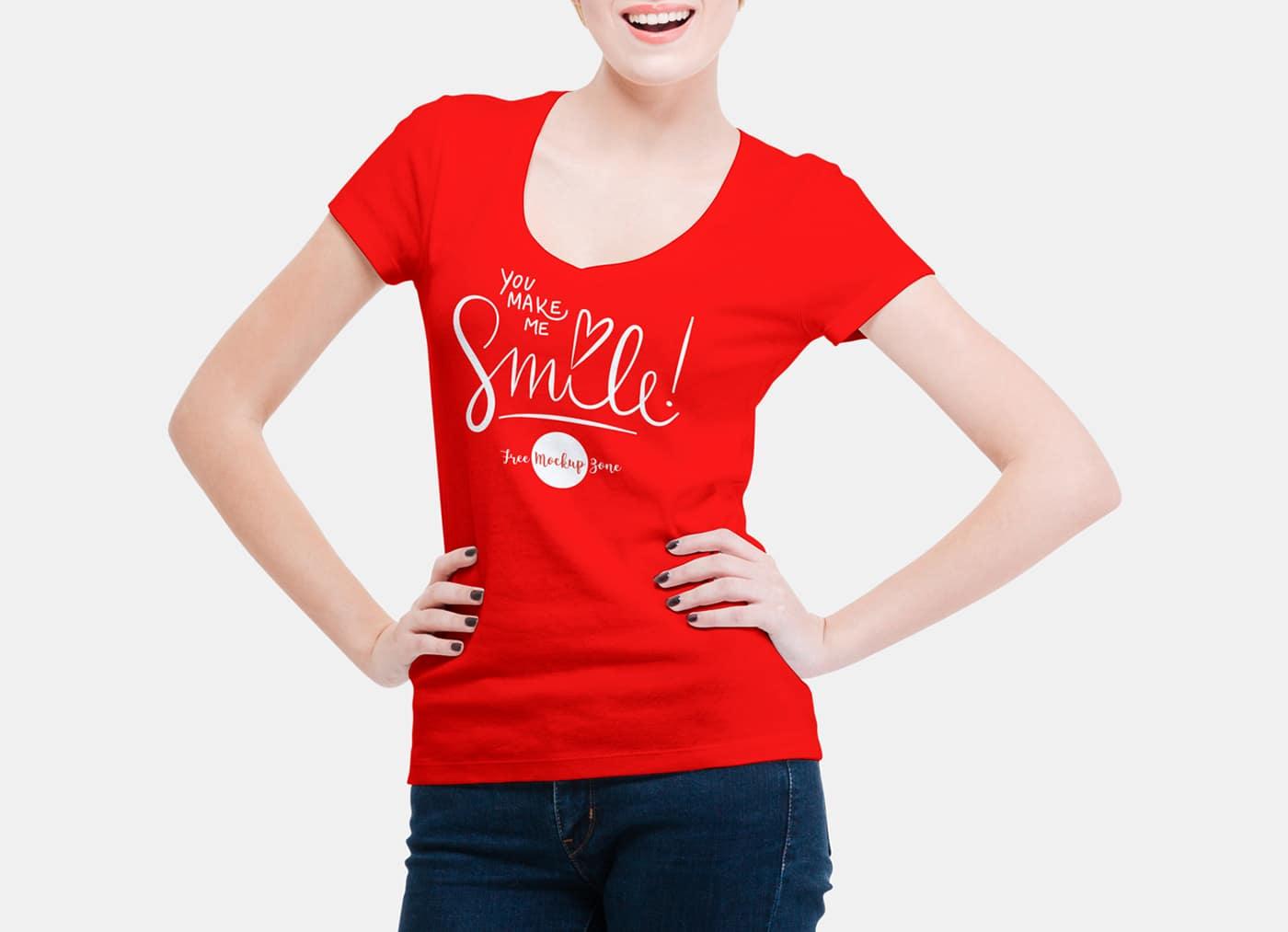 V-Neck Women T-shirt PSD Mockup - Free Download