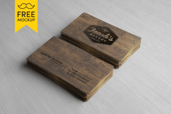 Free Wooden Business Card Mockup