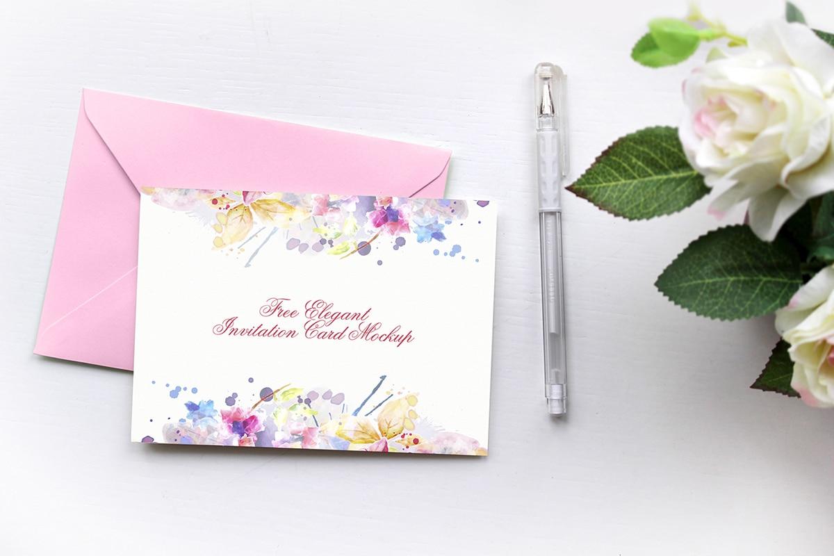 elegant invitation card free mockup