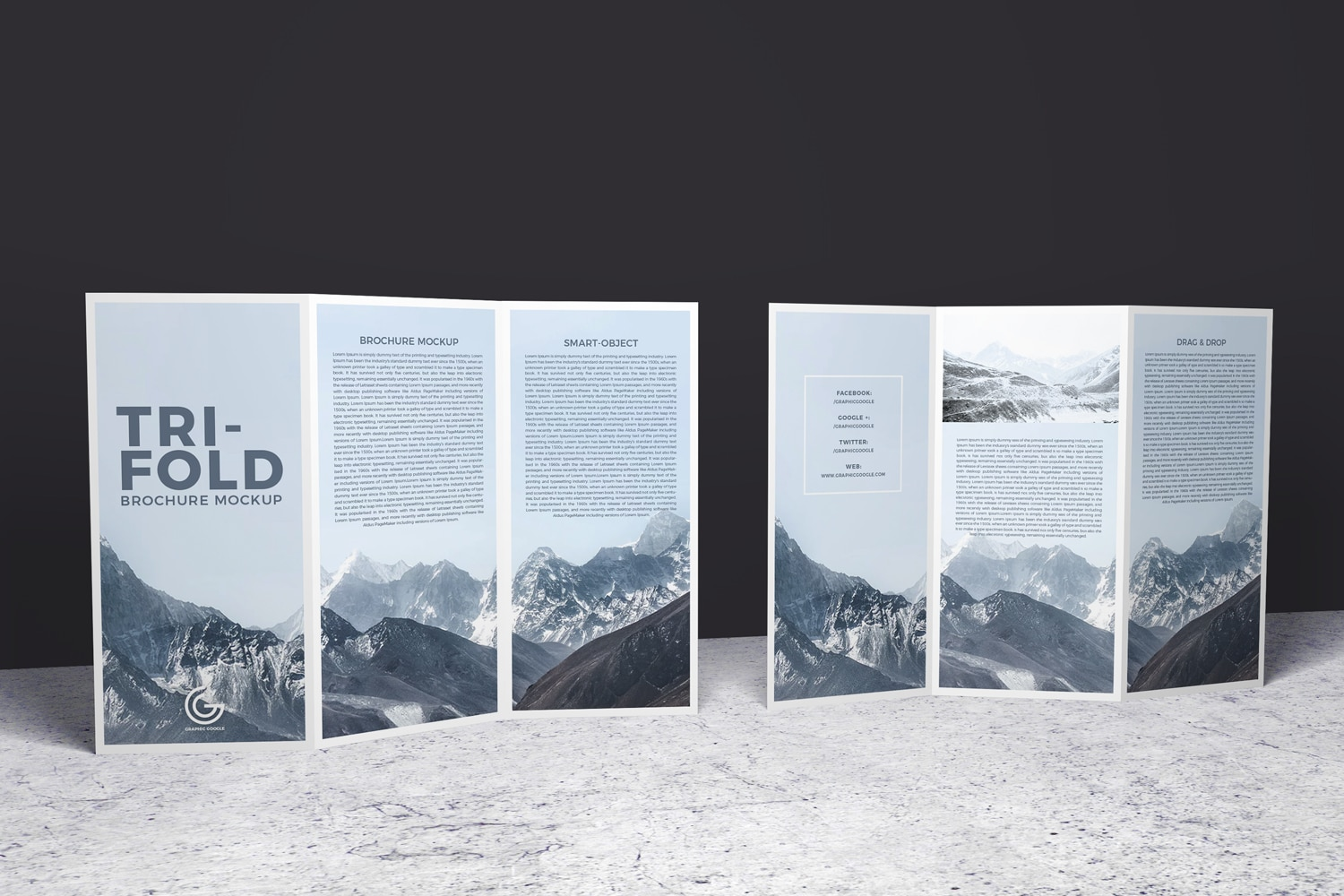 Double Sided Tri-Folded Brochure Mockup Free Download