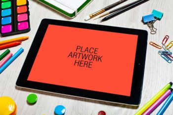 Free Artistic Workspace iPad Mockup