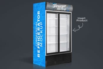 Realistic Free Commercial Refrigerator Mockup in PSD