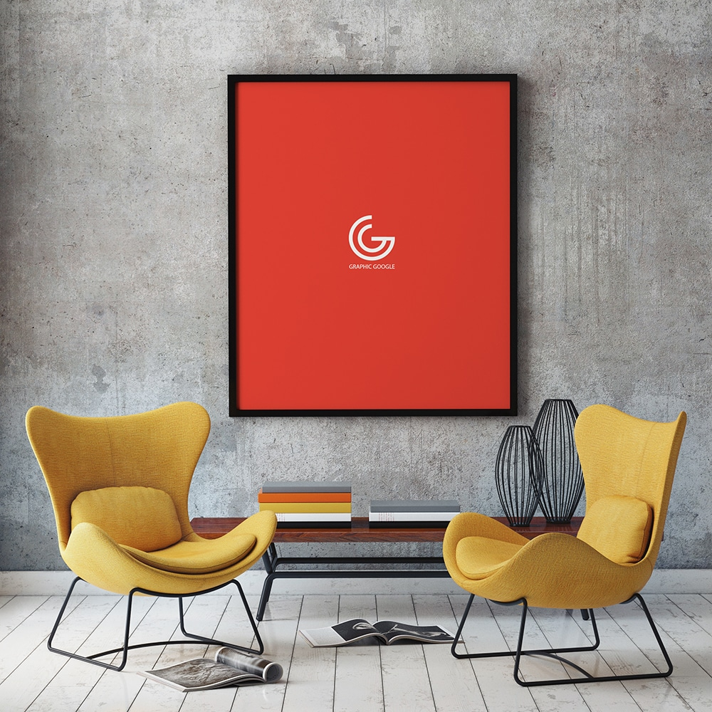 Free Living Room Poster Mockup in PSD - DesignHooks on Room Decor Posters id=72720