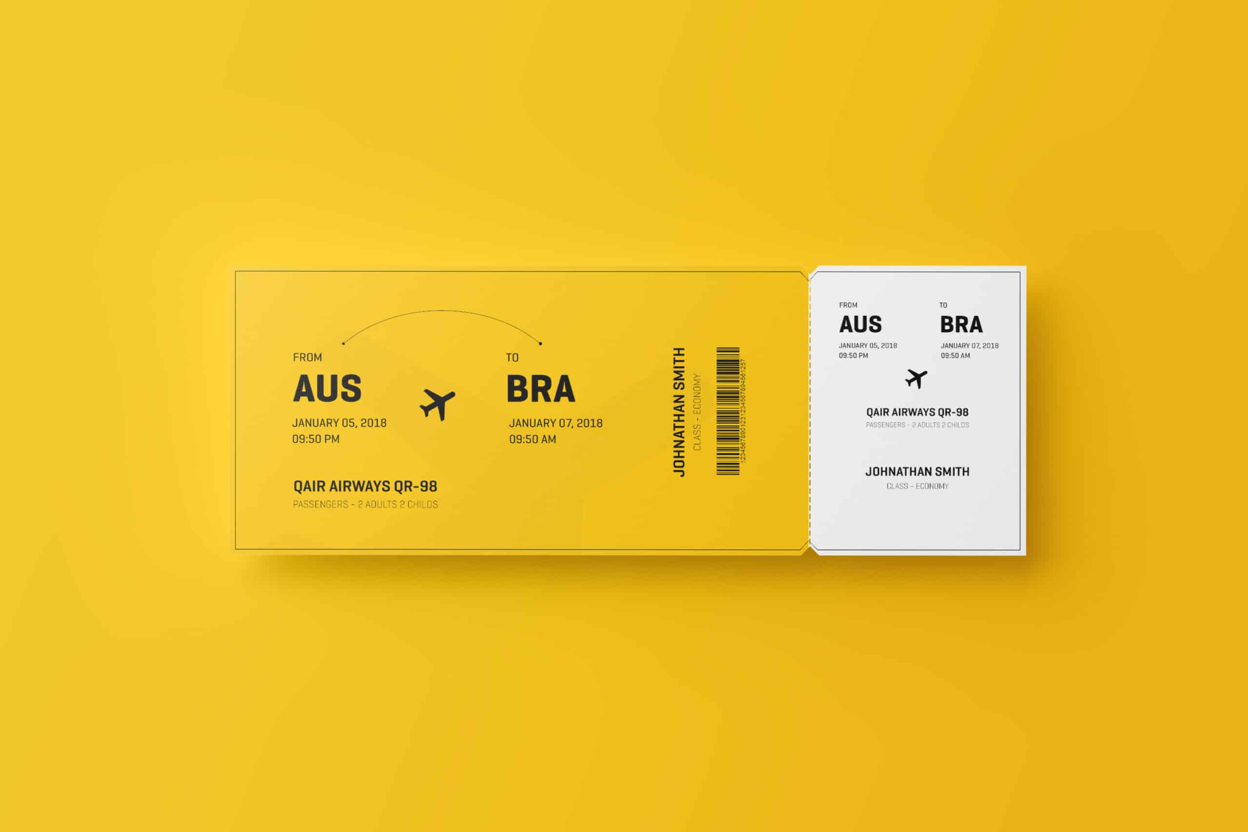 Free High Res Flight Ticket Mockup In PSD DesignHooks