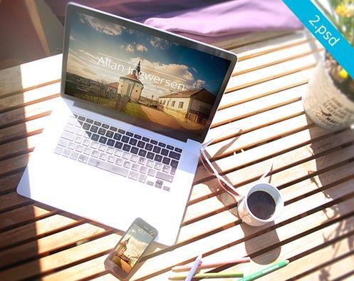 Set of MacBooks in Summer