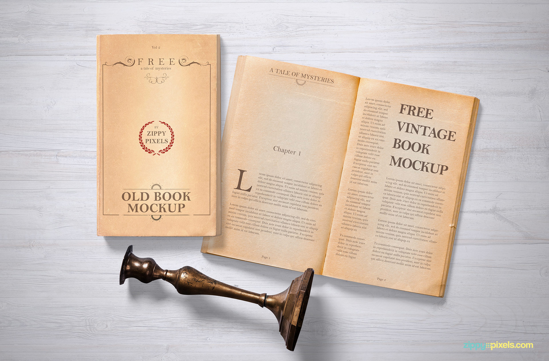 Vintage Book PSD Mockup to Download for Free