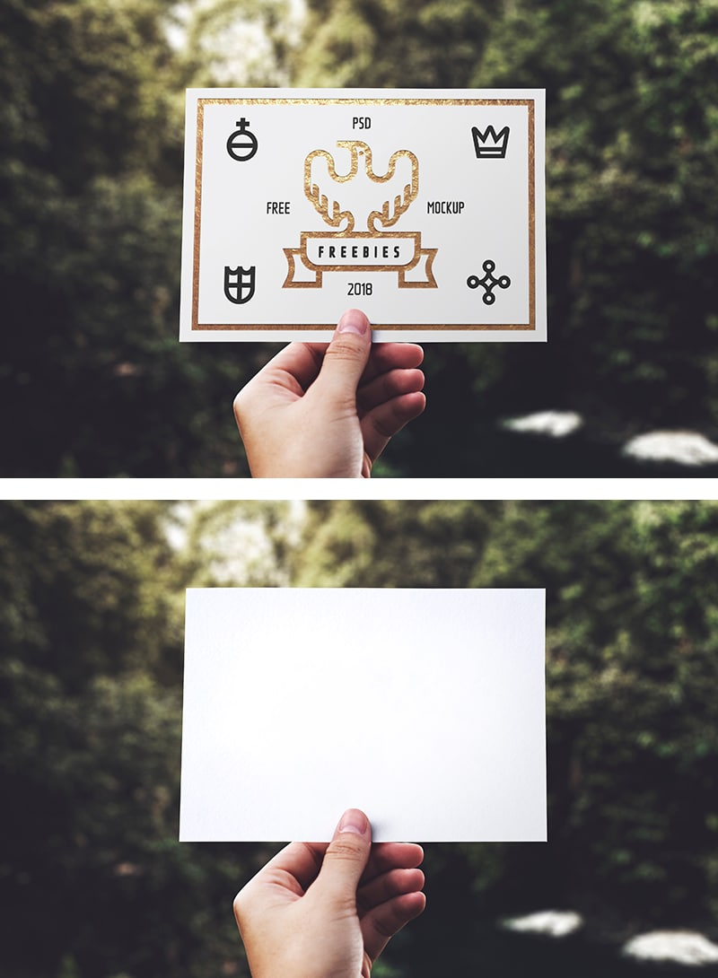 Free hand hold blank card psd mockup designhooks you can download this card mockup for free just have a look at the blank section of the card here you can put your business logo and other details as per reheart Choice Image
