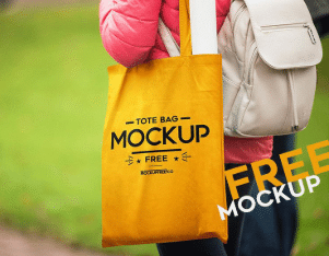 Chick Looking Tote Bag PSD Mockup
