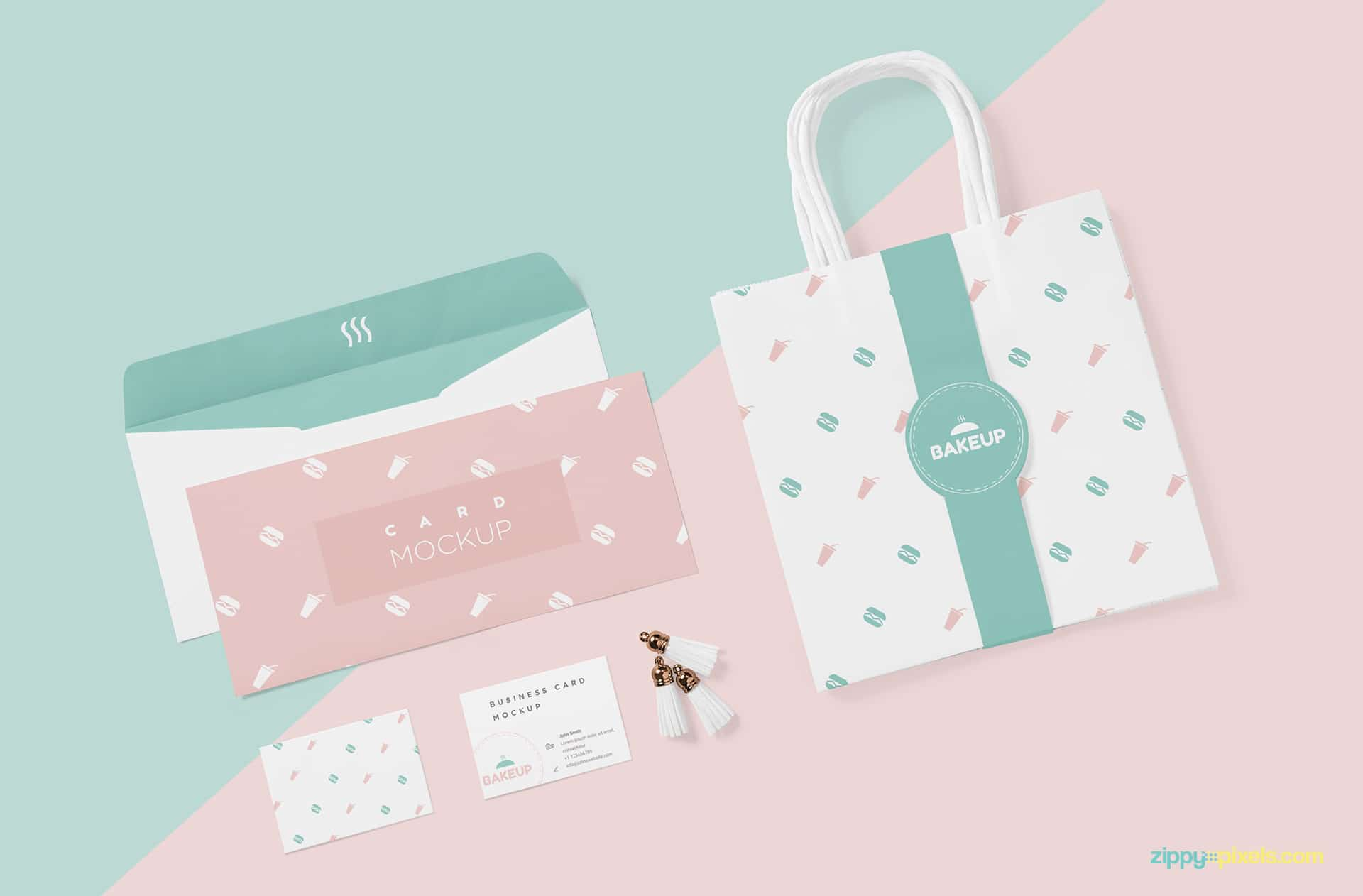 Tote Bag PSD Mockup with Invitation & Business Cards