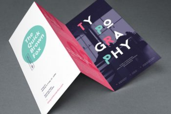 Free Photorealistic Tri-fold Brochure Mockup