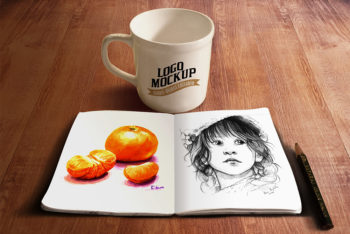 Coffee Cup Plus Sketchbook Mockup Freebie
