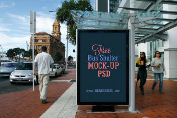 Two Bus Shelter Mockups Freebie in PSD