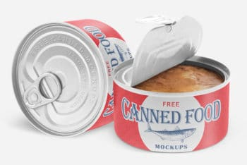Impressive Canned Food Mockup in PSD